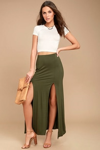 Come on Over Olive Green Maxi Skirt