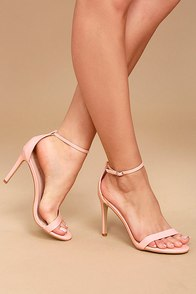 Orianna Pink Patent Ankle Strap Heels