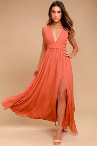 Heavenly Hues Rusty Rose Maxi Dress