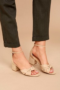 Lalita Natural Suede Ankle Strap Heels
