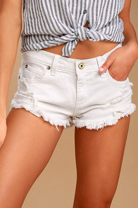 Talk to Me White Distressed Cutoff Denim Shorts