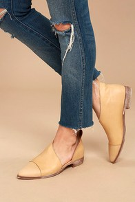 Free People Royale Natural Leather D'Orsay Pointed Toe Booties