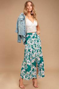 O'Neill Samara Green Floral Print Maxi Skirt