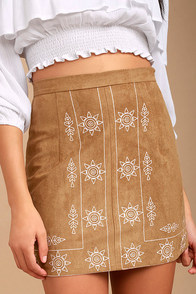 Ornamental Tan Embroidered Suede Mini Skirt