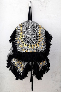 Wild Thing Beige and Black Woven Backpack
