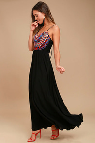 Ascension Island Black Embroidered Maxi Dress