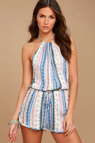 Southwest World Blue Print Halter Romper at Lulus.com!