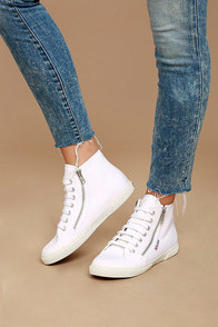 Superga 2224 COTU White Canvas High-Top Sneakers