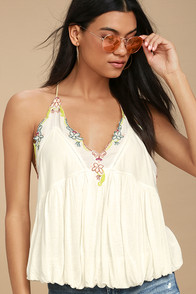 Free People Island Time Cream Embroidered Top