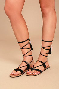 Theola Black Suede Lace-Up Sandals