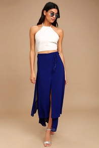 Breeze Away Royal Blue Midi Skirt