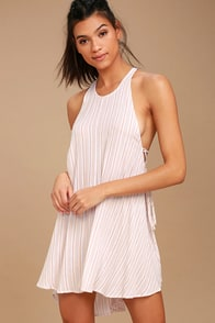 O'Neill Tilly Light Beige Striped Swing Dress