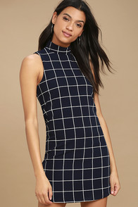 Chic By Design Navy Grid Print Dress