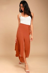 Breeze Away Rust Orange Midi Skirt