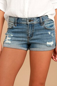 Bounce Back Light Wash Distressed Denim Shorts