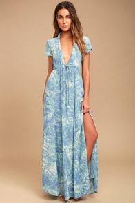 Mermaid's Tale Blue Print Maxi Dress