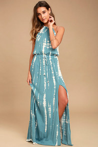 In a Daydream Blue and White Tie-Dye Maxi Dress
