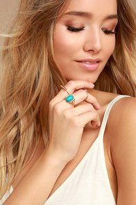 Study the Stars Gold and Turquoise Ring Set