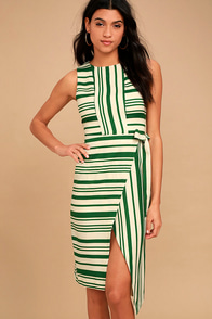 J.O.A. Faustina Green Striped Midi Wrap Dress
