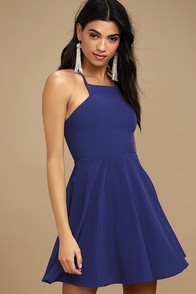 Call to Charms Royal Blue Skater Dress