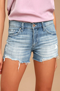 Surfside Light Wash Distressed Cutoff Denim Shorts
