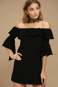Showcase Your Talent Black Off-the-Shoulder Dress