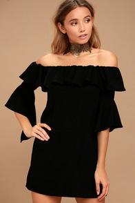 Showcase Your Talent Black Off-the-Shoulder Dress