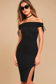 Never Enough Black Off-the-Shoulder Bodycon Midi Dress