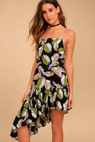 Impressionist's Garden Black Print Midi Dress