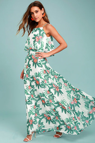 Evadne White and Teal Tropical Print Two-Piece Maxi Dress