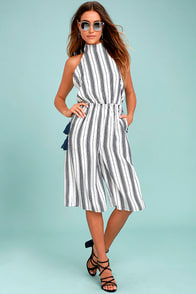 Sea What I Mean Navy Blue and White Striped Midi Jumpsuit