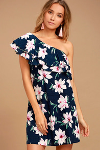 Undiscovered Island Navy Blue Floral Print One-Shoulder Dress