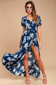 Heart Of Marigold Navy Blue Floral Print Wrap Maxi Dress at Lulus.com!