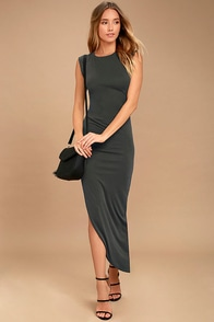 Positive Perspective Washed Black Midi Wrap Dress at Lulus.com!