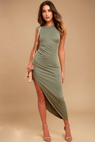 Positive Perspective Olive Green Midi Wrap Dress