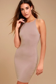I Bet Taupe Bodycon Dress