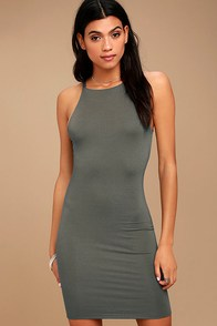 I Bet Charcoal Grey Bodycon Dress