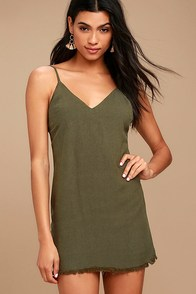 Ray of Light Olive Green Dress