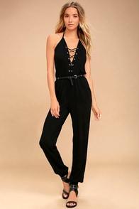 Unpredictable Black Lace-Up Jumpsuit