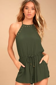 Believer Olive Green Romper at Lulus.com!