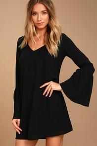 Far Wanderings Black Long Sleeve Shift Dress