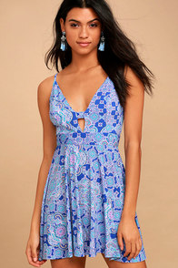 Lucy Love Slay Royal Blue Print Skater Dress