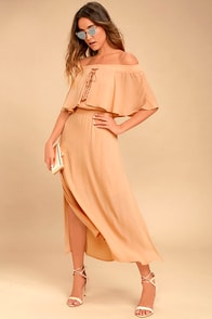 Somedays Lovin' Touch the Sun Nude Off-the-Shoulder Midi Dress