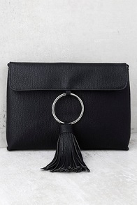 Next Big Thing Black Tassel Clutch at Lulus.com!
