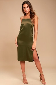 Keeps Gettin' Better Olive Green Satin Midi Dress