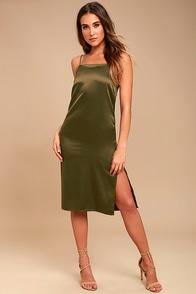 Keeps Gettin' Better Olive Green Satin Midi Dress