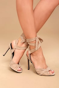 Kendall + Kylie Delilah Light Natural Suede Lace-Up Heels