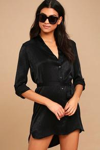 Business as Usual Black Long Sleeve Shirt Dress