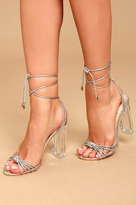 Melisenda Silver Lucite Lace-Up Heels