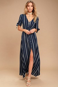 Sun-Kissed Days Navy Blue Striped Maxi Dress
